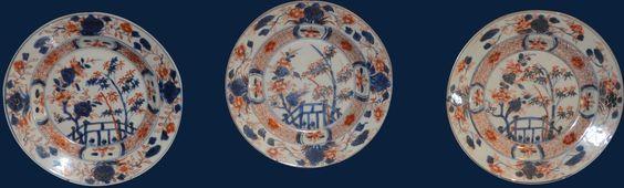 Set van 3 borden Chinees Imari, 18e-eeuw