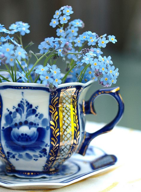 Blue cup and saucer: