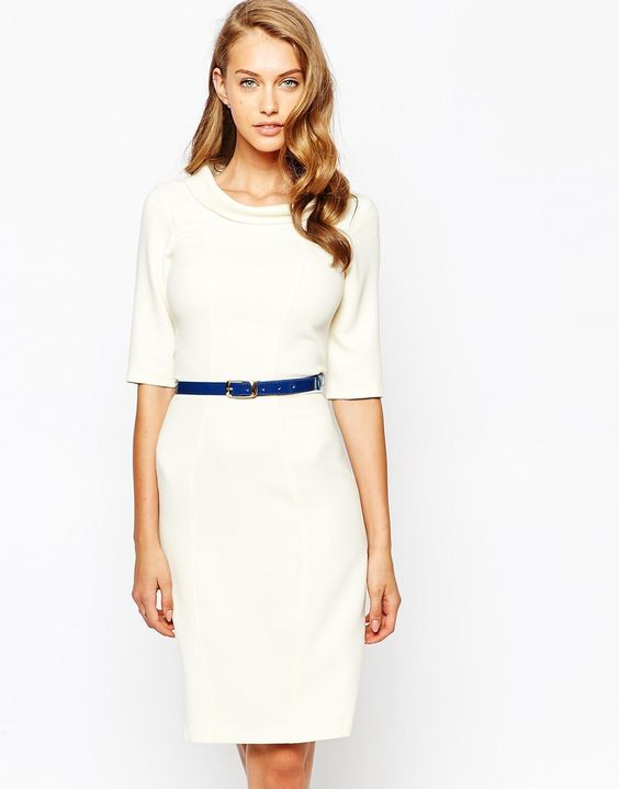 3 4 white dress asos
