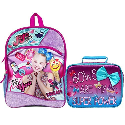 JoJo Siwa 4 Pc Set School Backpack Lunch Box Water Bottle Squishy Ball