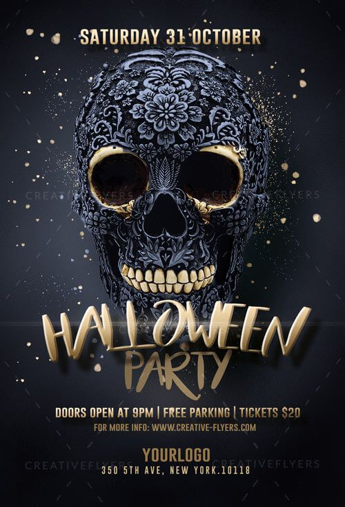 Black And Gold Halloween Party Flyer Template Creative Flyers Halloween Party Flyer Party Design Poster Halloween Flyer Halloween party flyer templates