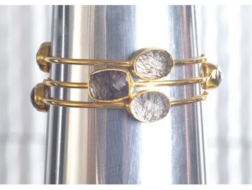 Black Rutilated Bangle - gorgeous - stackable