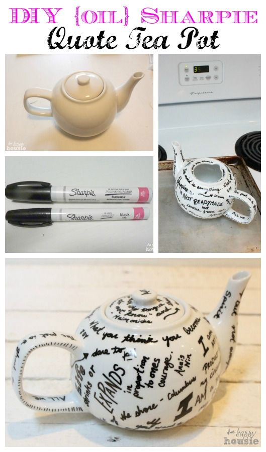 Diy Bridal Shower Gift Ideas For Guests : ... Gift Idea: DIY Sharpie Quote Tea Pot Happy, Guest books and Ideas