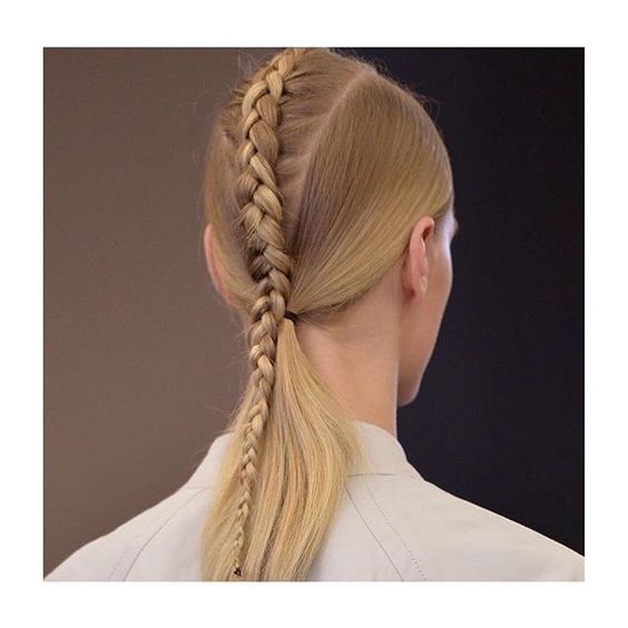 Braid designed by hair genius @eugenesouleiman  @streetersldn @nyfw @fashion_week #nyfw #fashionweek #victoralfarostudio #victoralfaro #spring2016 #SS16 #eugenesouleiman #hair #braid