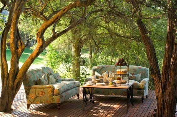 Outdoor living space, outdoor living room.