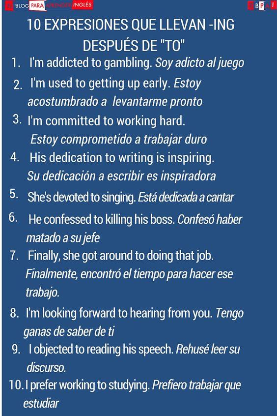 """El Blog para aprender inglés: ¿Cuándo se utiliza el gerundio detrás de """"to""""?"""
