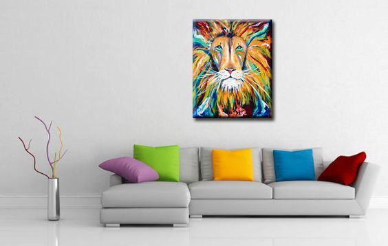 Iron lion zion abstract lion colorful rasta jamaica for Home decor jamaica