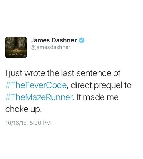 If it made Dashner cry then it'll probably devestate me---- oh no. I might not be ready for this