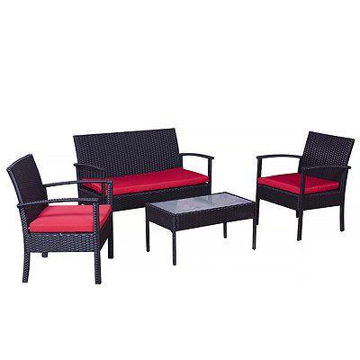grenoble schwarz-rot gartenmöbel lounge set neu polyrattan garten, Garten und Bauen