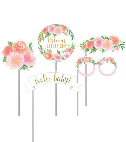 Photobooth Set Sweet Baby Girl 13 Teilig Willkommen Baby Madchen Babyparty Baby Shower Spiele
