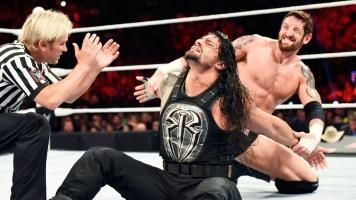 Raw photos for June 1. Roman Reigns battles Bad News Barrett on Raw with his Money in the Bank Ladder Match spot on the line.