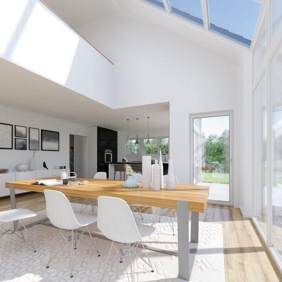 Die offene Galerie und der hohe Wohnraum setzen das architektonische Highlight besonders in Szene. Für alle Fans von hellen Räumen und größflächigen Fenstern geht hier ein Wohntraum in Erfüllung!  Mehr zum Kern-Haus Maxime finden Sie unter: http://www.kern-haus.de/haeuser/familienhaeuser/maxime/