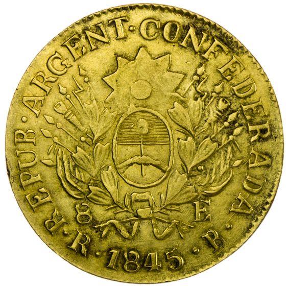 Argentinien 8 Escudos 1845 Gold  Sehr Selten