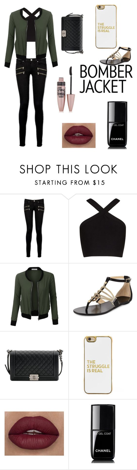 """bomber jacket"" by ptcliff ❤ liked on Polyvore featuring Paige Denim, BCBGMAXAZRIA, LE3NO, Jimmy Choo, Chanel, BaubleBar, Maybelline and bomberjackets"