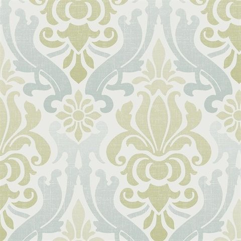 Nu1656 Blue And Green Nouveau Damask Peel Stick Wallpaper By Nuwallpaper Wallpaper Damask Peel And Stick Wallpaper