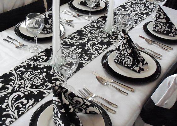Damask Table Runner Black and White Wedding FREE SHIP. $16.00, via Etsy.