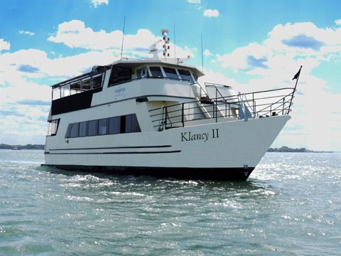 """""""The Klancy II"""" offers a stylish, comfortable dining salon and a spacious upper deck. It has previously hosted beautiful weddings and classy business functions."""