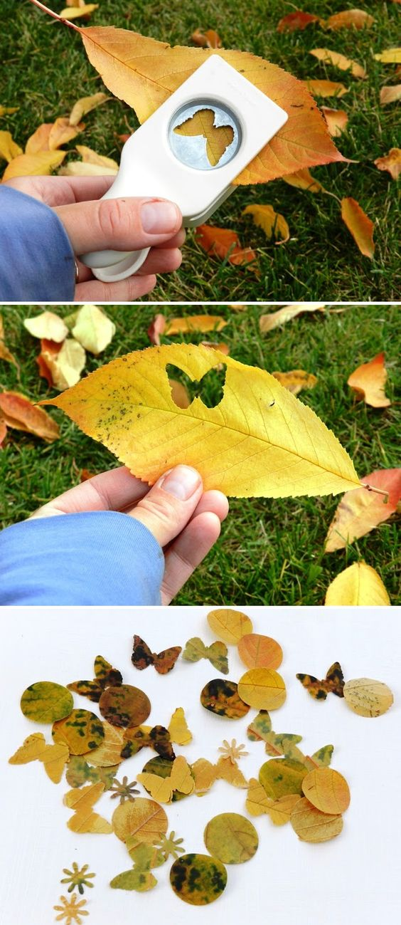 Paper Punching Leaves, I'd punch these and put them on homemade candles