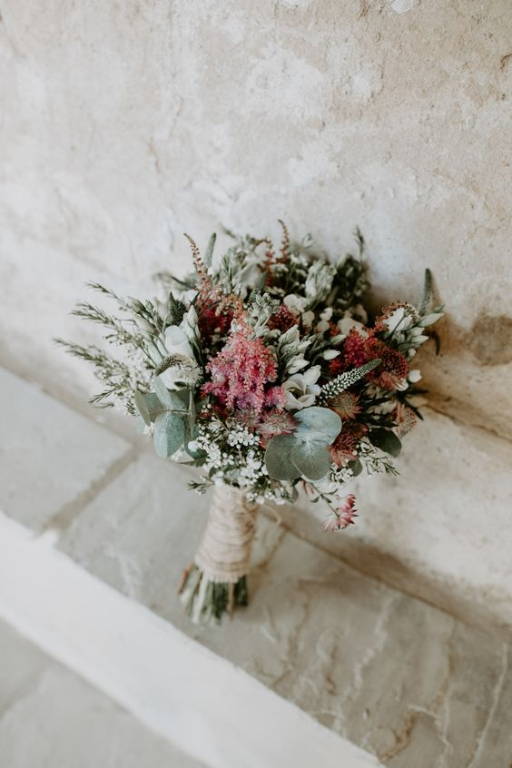 Bouquet Flowers Bride Bridal Pink Greenery Foliage Astilbe Hessian Twine Wax Barn Upcote Wedding Siobhan Beales Photography #Bouquet #Flowers #Bride #Bridal #Pink #Greenery #Foliage #Astilbe #Hessian #Twine #Waxflower #wedding