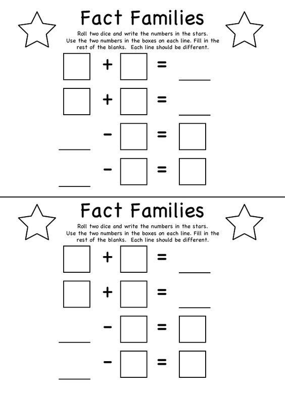 Helper Online's Fact Families - Addition / Subtraction Worksheet ...