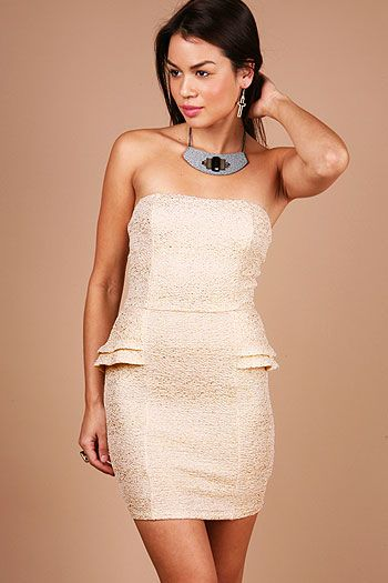Champagne Tube Dress - Tube Dresses at Pinkice.com  32.99