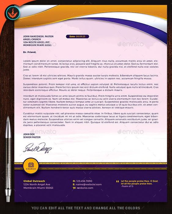 Church Royal Gold Lavender And White Letterhead Template