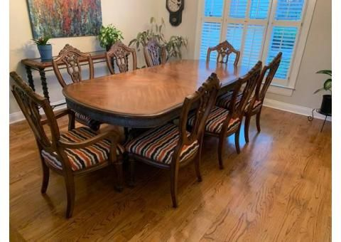 Amish Made Natural Cherry Dining Table With 6 Tall Back Leather
