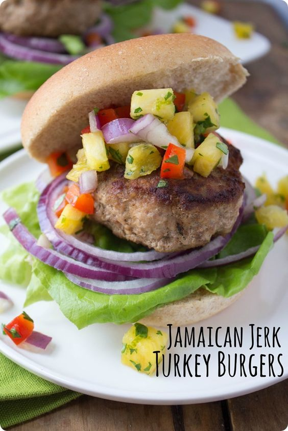 These Jamaican Jerk Turkey Burgers with Pineapple Salsa will be your ...