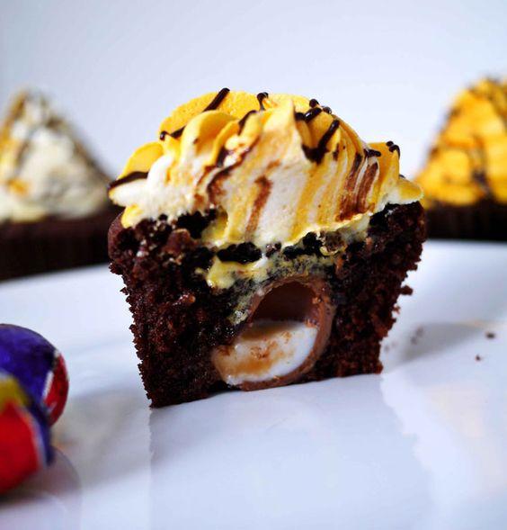Cadbury Creme Egg Stuffed Cupcakes