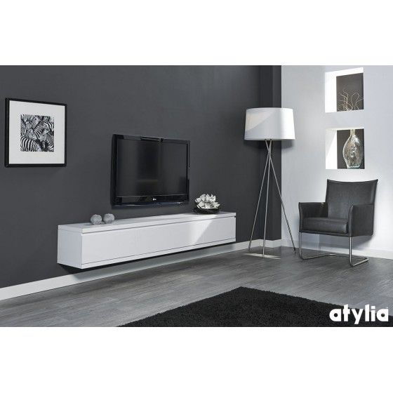 Meuble tv design suspendu flow blanc mat atylia prix for Meuble mural living