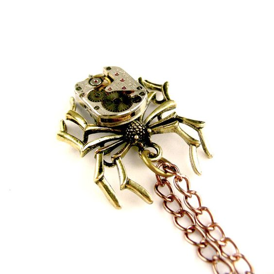 Rustic Bronze Spider Necklace    Steampunk Black by SteamSect, $34.00