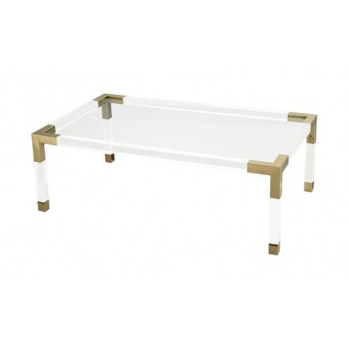 Acrylic Coffee Table Gold Metal Corners Edges Coffee Table