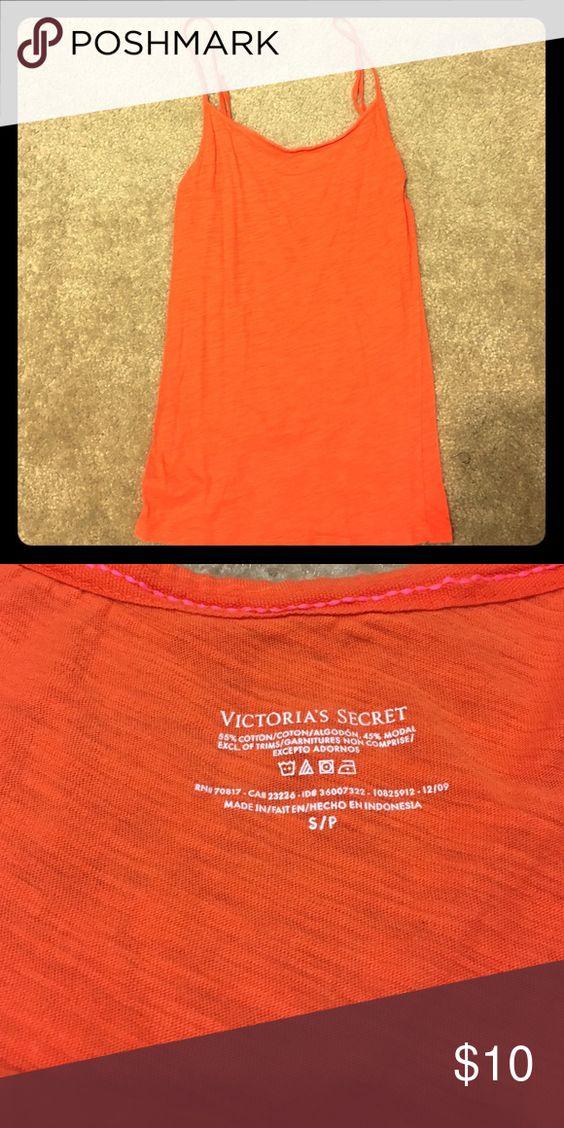 Camisole A Victoria's Secret orange adjustable strap camisole that has a long length that is perfect for layering Victoria's Secret Tops Camisoles