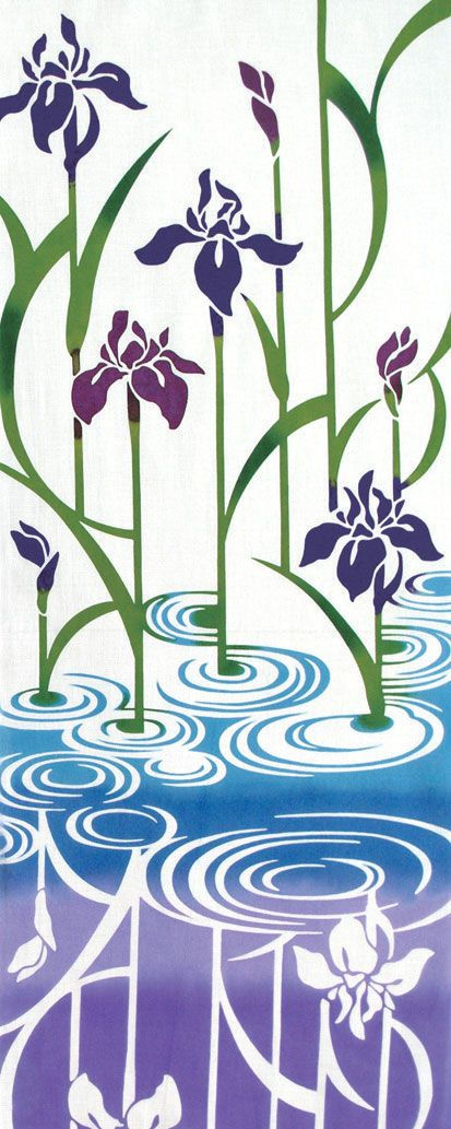 Japanese Tenugui Towel Cotton Fabric, Hand Dyed Fabric, Purple Iris, Blue Water…