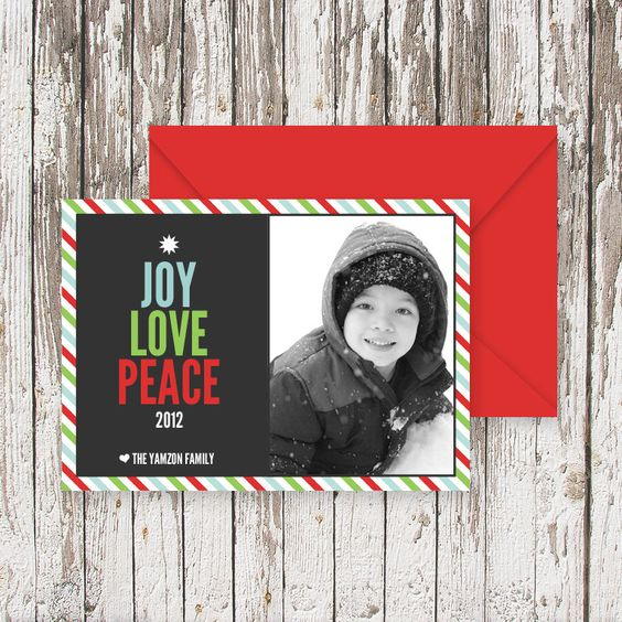 PEACELOVEJOY Tree Christmas Photo Card (50 cards),