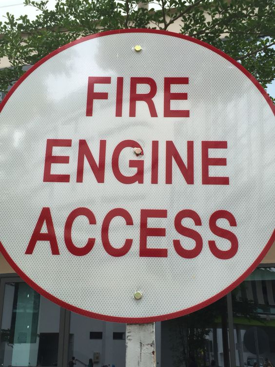 "This picture shows figure and ground, with the white acting as 'ground' and the red acting as the 'figure'. With both of them together, we can recognise the words which states ""Fire Engine Access""."