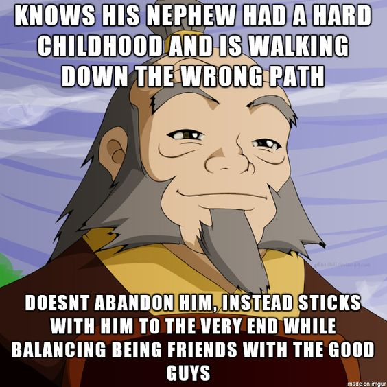 This is the exact definition of what Uncle Iroh did! He not only helped Zuko on his journey, keeping him focused and eventually helping out of his self-imposed darkness, but he also helped the Gaang and gave them advice when the needed it the most. Honestly, there will never, EVER be another animated charter like him. He is just amazing!