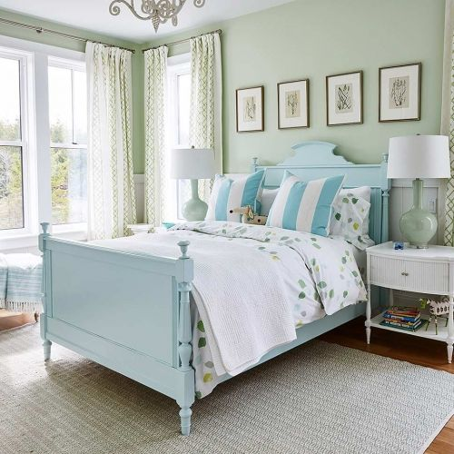 Bed With Light Green Bed Frame And A Minty Green Wall Beside The Bed Sits A White Side Table Bedroom Green Sarah Richardson Sarah Richardson Design