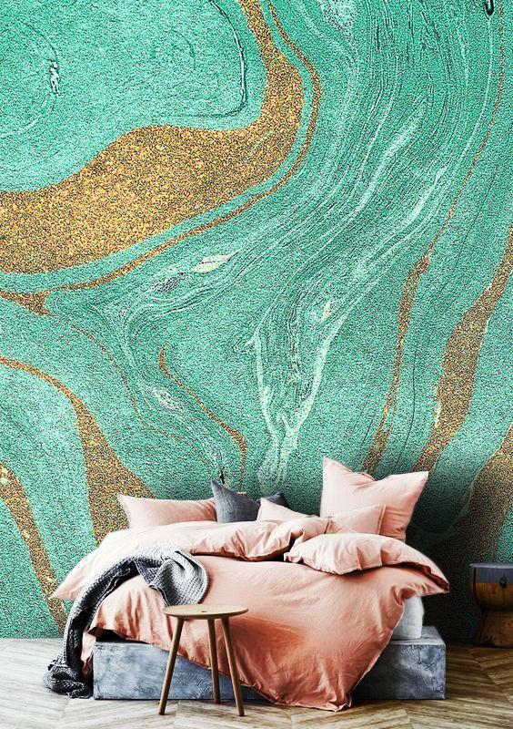 Wallpaperabstractmint Color Gold Sparklesglitterpeel And Etsy Mural Design Vinyl Wallpaper Wallpaper