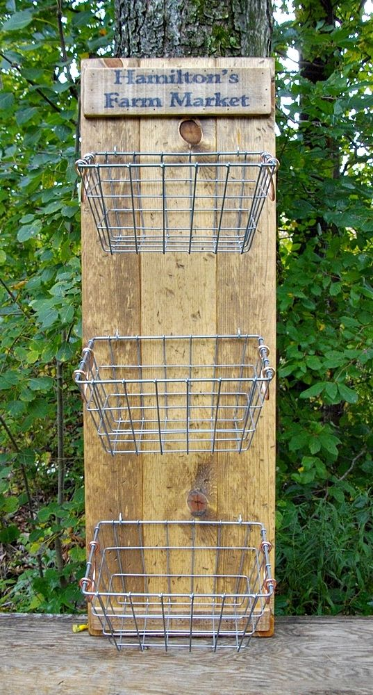 My DIY....rustic wire basket wall storage