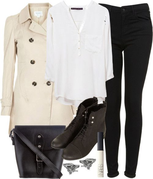 Zara three quarter length sleeve top / Topshop a line trench coat, $130 / Topshop jeans / Topshop black ankle boots, $75 / Status Anxiety black leather purse, $92 / Tressa sterling silver earrings / NARS Cosmetics lips makeup