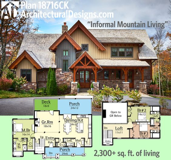 Architectural Designs Rugged House Plan 18716CK gives you a vaulted great room open to the kitchen. Over 2,300 sq. ft. of living. Ready when you are. Where do YOU want to build?