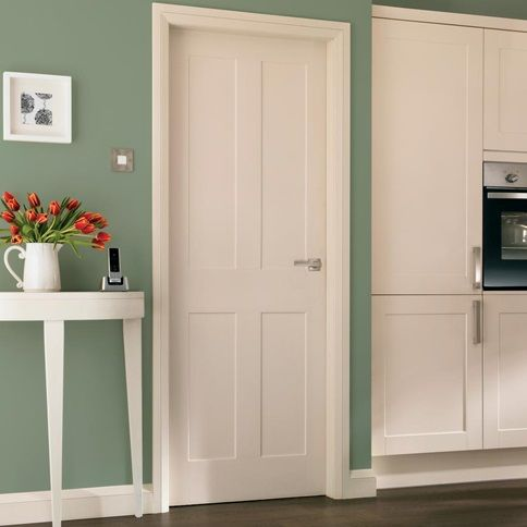 Bring Clean Simple Styling To Your Room With Our Burford Four Panel Internal Door White Internal Doors Internal Doors Internal Glass Doors