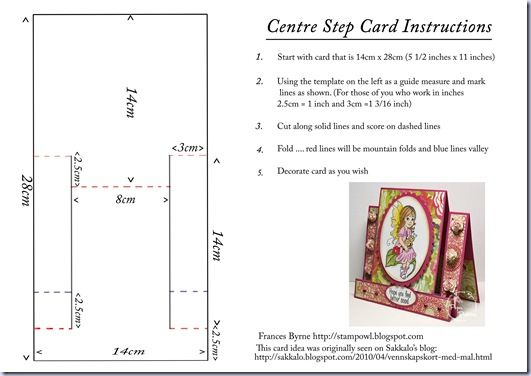 Centre Step Card Instructions Center Step Cards Step Cards Card Patterns
