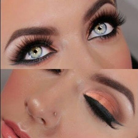 Copper and gold summer evening look