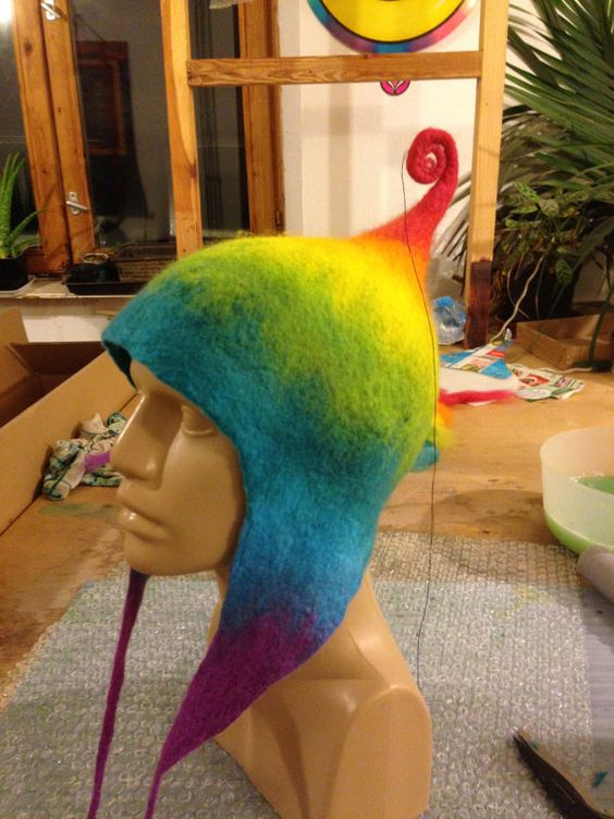 Rainbow pixie felted hat TUTORIAL . How to make felt hat. Rainbow hippie hat. perfect spiral from wool.