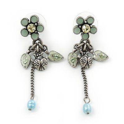 Vintage Inspired Pale Blue Enamel Freshwater Pearl 'Flower & Ladybug' Drop Earrings In Antique Silver Tone - 50mm Length - main view