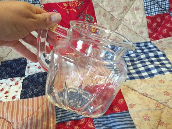 GLASS JUICE PITCHER, Vintage Collectible Glass Pitcher, large glass pitcher, collectible pitcher, clear glass pitcher, vintage housewares