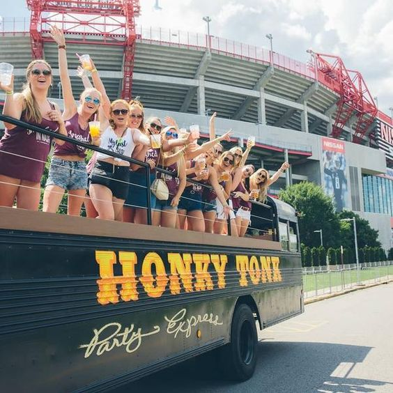 If you're headed to Nashville and looking to party, the Nashville Honky Tonk Express is for you! This open-air, BYOB party bus is custom built with an LED-lit dance floor, custom sound system and VIP bartender for all your bachelorette party bubbly needs. Choose from four major tour routes, each lasting two hours, whil