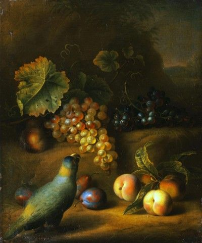 Landscape with a parrot, grapes, peaches and plums